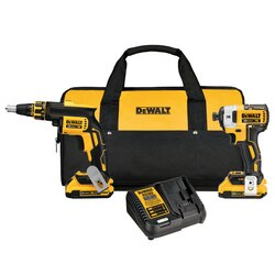 DEWALT - 20V MAX Cordless Brushless XR Drywall Screwgun  Impact Driver Kit 20Ah - DCK267D2