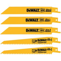 DEWALT - 5 Piece BiMetal Reciprocating Saw Blade Set - DW4857